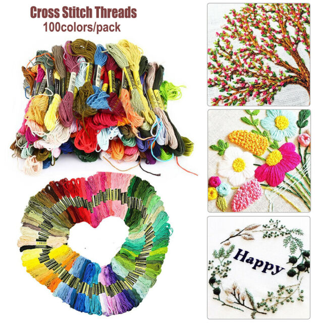 Durable 100colors/pack Cotton Floss Cross Stitch Embroidery Skein Sewing Thread