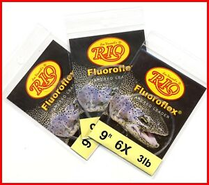 RIO-Fluoroflex-Tapered-Fluorocarbon-Fishing-Leaders-Choose-SIze-One-Package