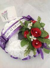 Artificial Silk Funeral Flower Memorial Wreath Ring Grave Crem Tribute Mum Dad