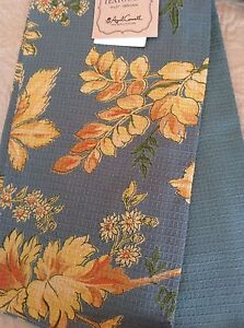 APRIL CORNELL KITCHEN  TOWELS  YELLOW BLUE  GREEN FLORAL 100/% COTTON  NWT