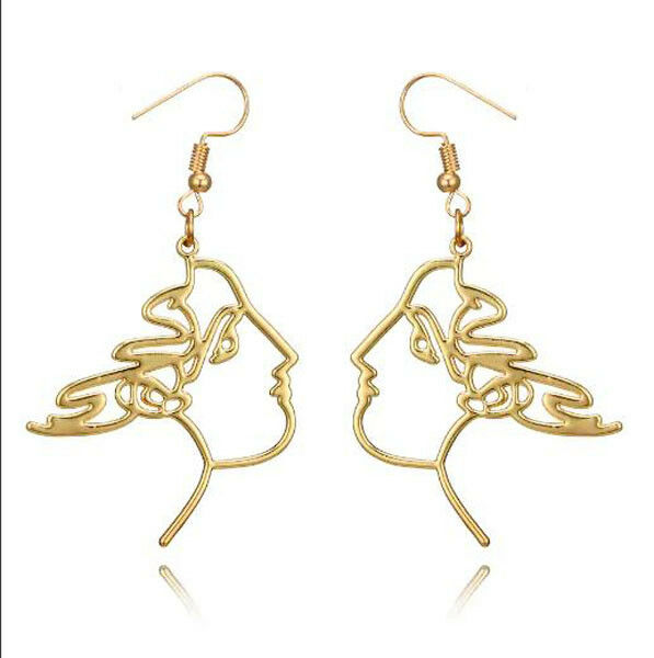 Earrings Face of a Roman Queen Side Profile Cut Out