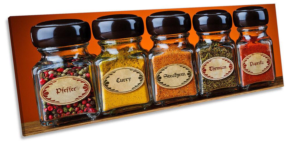 Kitchen Spices Bottles Orange Bild PANORAMA CANVAS Wand Kunst Drucken