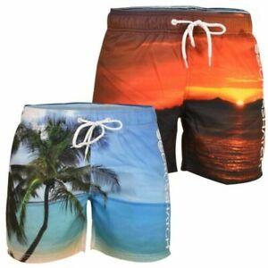 Crosshatch-Hawaiin-Sun-Set-Mens-Holiday-Swim-Shorts-Summer-Beach-Trunks-S-2XL