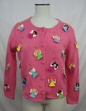 Michael Simon Cardigan Sweater Sz S Pink with Applique Angels Christmas