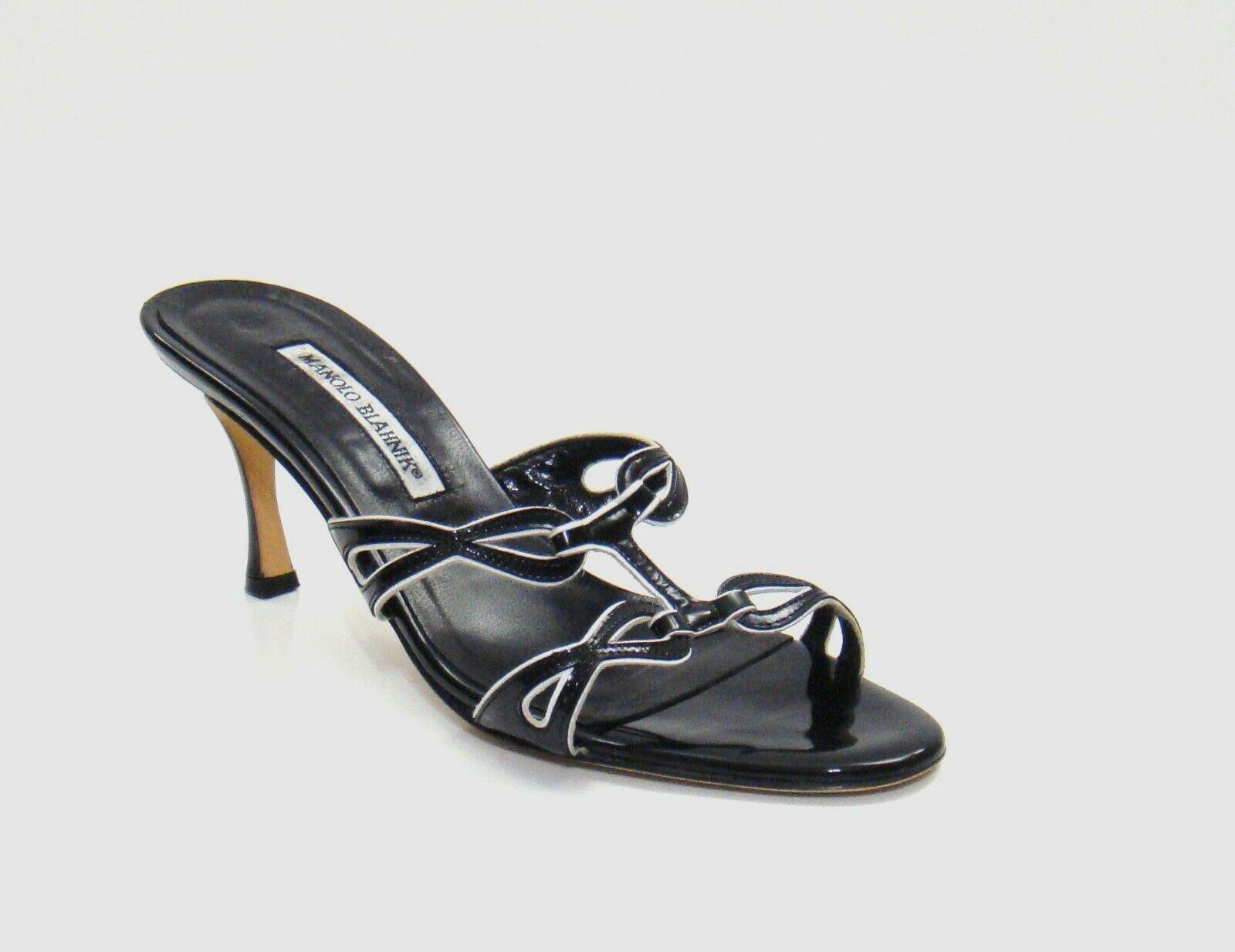 Manolo Blahnik Black & White Patent Leather Slide Sandals Size 39 9