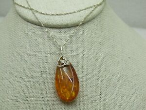 Sterling-Silver-Faux-Amber-Necklace-19-034-Teardrop