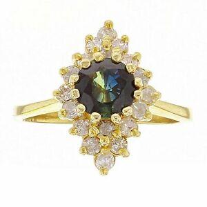 14k-Yellow-Gold-0-50ctw-Sapphire-amp-Diamond-Geometric-Cluster-Ring-Size-6-5