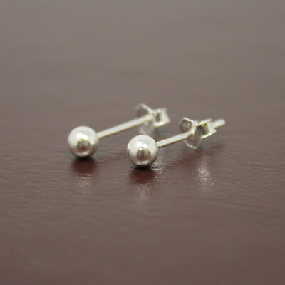 Sterling Silver .925 High Polished Round Ball Bead Stud Earring Pair with backs