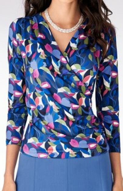 Artigiano damen  Printed Wrap Jersey Shirt , Multi - Größe R , BNWT