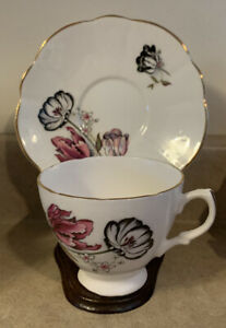 Vtg. Pink & Black Rose Floral Bone China Teacup & Saucer, Made In England
