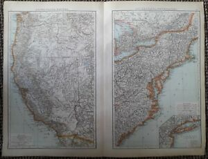 1900039s colonial empire Cassell039s world atlas sheet  United States west and east - Liverpool, United Kingdom - 1900039s colonial empire Cassell039s world atlas sheet  United States west and east - Liverpool, United Kingdom