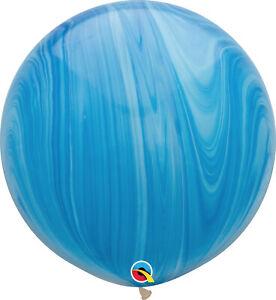 RAINBOW-BALLOONS-30-034-76cm-QUALATEX-BLUE-SUPERAGATE-PACK-OF-2-BALLOONS