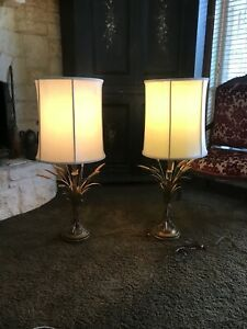 1960s-Mid-Century-Modern-Frederick-Cooper-Gold-Wheat-Sheath-Table-Lamps