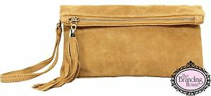 ladies-camel-suede-tassel-clutch-bag