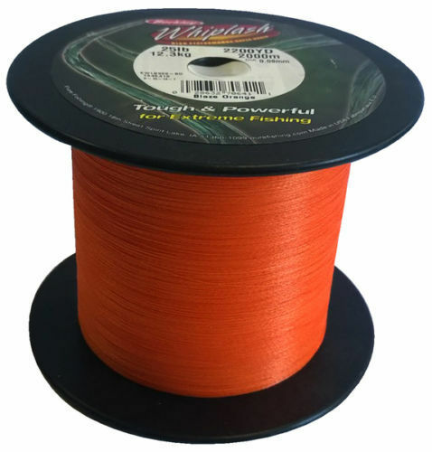Berkley Whiplash BulkSpool Dyneema Blaze Orange BRAID 100lb .28mm 2000m 2200 Yds
