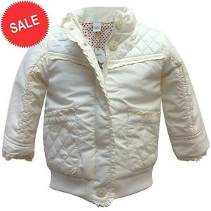 75037523b70a NEW Baby Girls Ex Adams Cream Fleece Padded Jacket Coat Age 0 3 6 9 ...