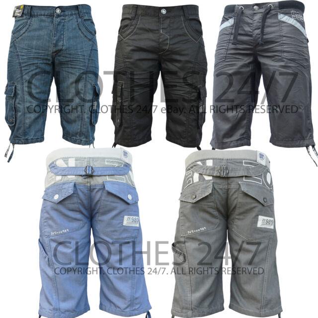 Mens Jeans Designer Cargo Combat Blue Dark Denim Summer Shorts Waist Size 28-46
