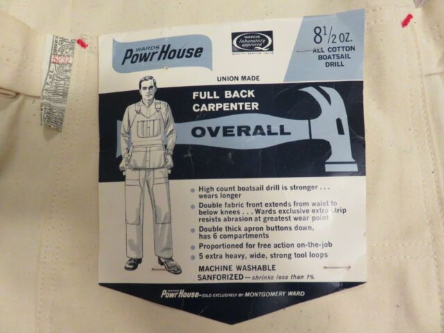 Vtg 50s/60s POWR HOUSE Bib OVERALLS 34x32 L Carpenter Painter Utility Sanforized