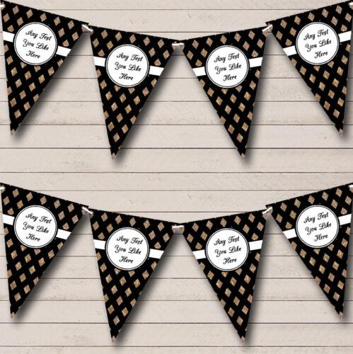 Noir et cuivre or Crosshatch Mariage Venue ou réception Bunting Party Banner