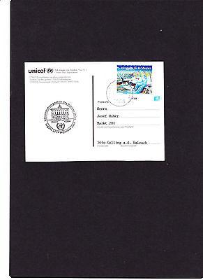 """Briefmarken 394 Durchblutung GläTten Und Schmerzen Stoppen Unicef-grußkarte Mit Ausstellungsstempel """" L U G A N O 2 0 1 4 """" Mi.nr Weltweit"""