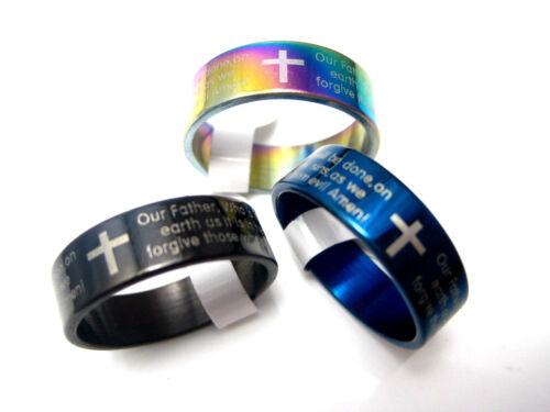 15pcs anglais prière Bible Lords en Acier Inoxydable Bande Croix Anneaux Grandes Tailles