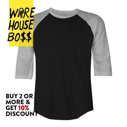 Lot de 3 Shaka Hommes Casual Raglan Tee Baseball T Shirt manches 3//4 chemises de sport