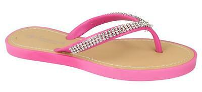 Señoras Savannah Slip On Plana Diamante de recorte de la post Flip Flop Sandalias f0785