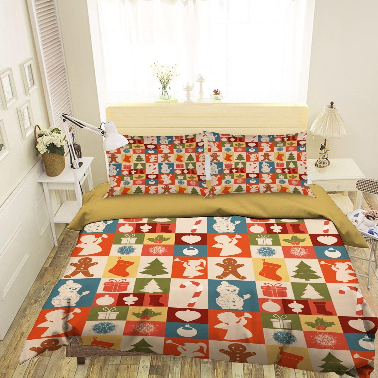 3D Christmas Xmas Grid 7 Bed Pillowcases Quilt Duvet Cover Set Single Queen AU