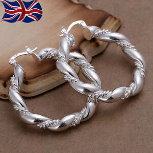 925-Sterling-Silver-plated-Hoop-Earrings-Large-Twisted-Rope-Chunky-Gift-Bag-UK