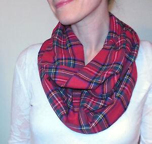 e53a97b52bc7a Red Plaid Infinity Scarf Green Soft 100% Cotton Flannel Tartan ...
