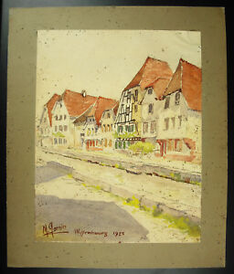 M-Garbier-1925-Rue-of-Wissenbourg-Alsace-Ford-Drawing-Watercolour-Original