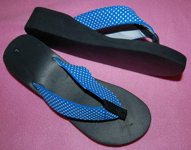 "WOMENS Flip Flops BRIGHT BLUE POLKA DOT Fabric Strap 1.5"" Heel M 8-9 CUTE"