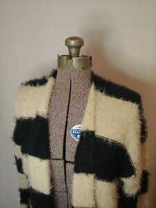 Forever-21-XXI-Women-039-s-Black-amp-Beige-Striped-Fuzzy-Cardigan-Sweater-Size-Small-S