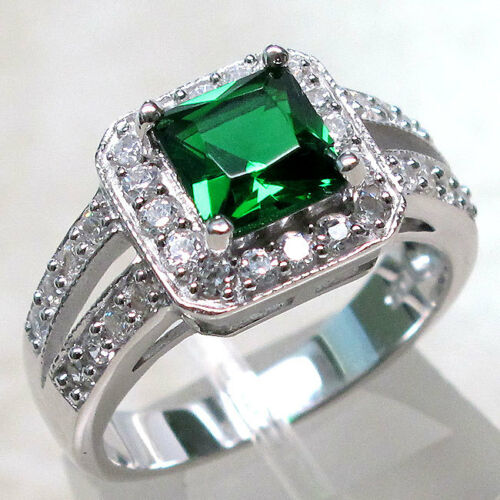 INCREDIBLE 1.5CT EMERALD 925 STERLING SILVER RING SIZE 5-10