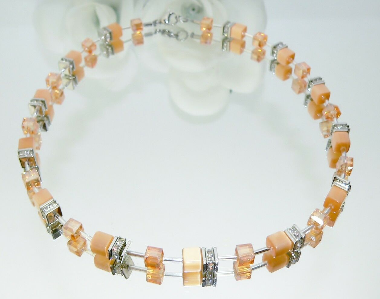 Kette Collier Cat Eye pastell apricot lachs Kristall Glas Ab Strass  klar 507i