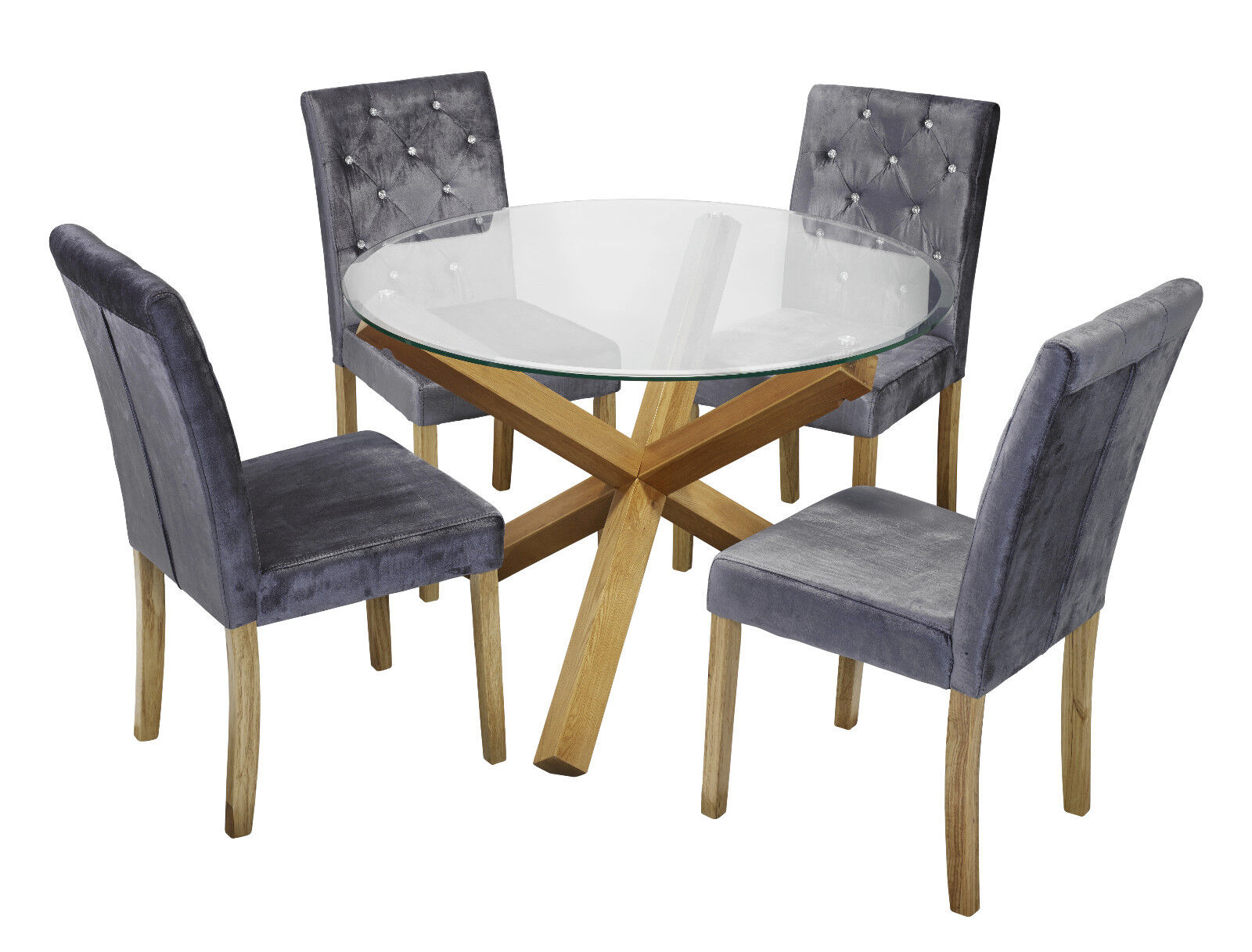 huge selection of 4ef8d 08f5e Details about Trend Solid Oak Round Glass Top Dining Table & 4 Amour Silver  Fabric Chair Set