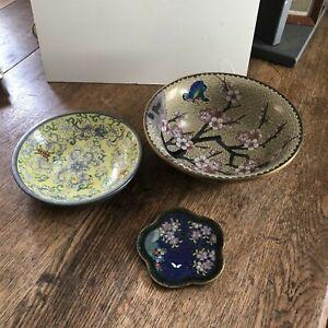 Vintage Oriental Bowl Decorative Lot of 3 Knobler Enamel Porcelain