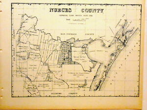 Map Of Texas Kingsville.Old Nueces County Texas Land Office Owner Map Corpus Christi