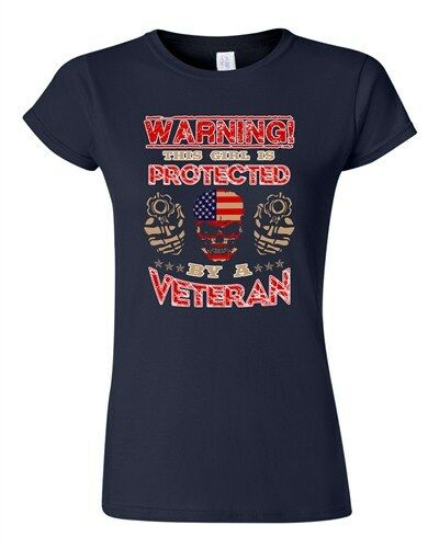 Junior Warning This Girl Is Protected By A Veteran Daughter Funny DT T-Shirt Tee