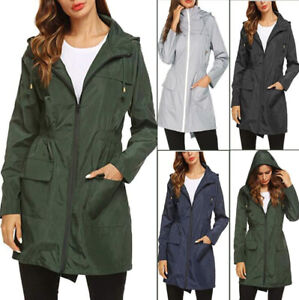 Women-Long-Sleeve-Hooded-Jacket-Outdoor-Wind-Waterproof-Rain-Coat-Outwear