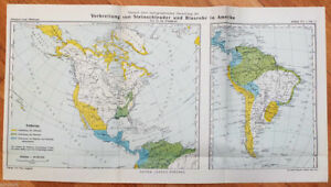 Details about 1911 Antique Colour MAP of UNITED STATES and South America
