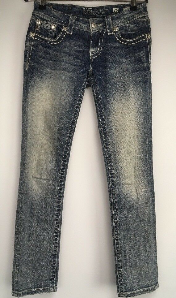 MISS ME JEANS Sz 25 Ankle Straight BLING RHINESTONE CROSS Distressed Denim Pants