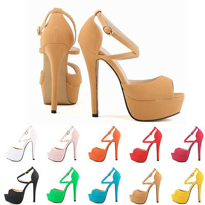 HOT NEW PEEP TOE STRAPPY PLATFORM FAUX SUEDE HIGH HEELS SANDAL SHOES SIZE 4-11