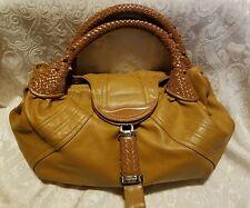 Classic Vintage FENDI Cognac Soft Leather SPY Bag Large Hobo Style Woven Handles