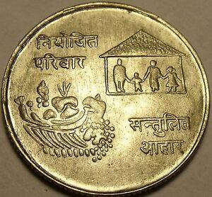 FAMILY KING MAHENDRA BIKRAM SILVER COIN KM#835 AU//UNC 1974 NEPAL 10 RUPEE F.A.O
