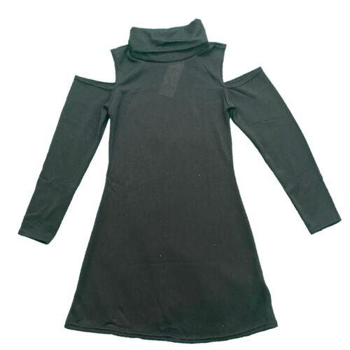 Girls Kids Cold Shoulder Swing Dress Polo Neck Long Sleeve Jersey Dresses Plain