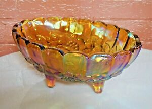 Indiana-Glass-Iridescent-Gold-Carnival-Garland-Oval-4-Toed-Center-Fruit-Bowl