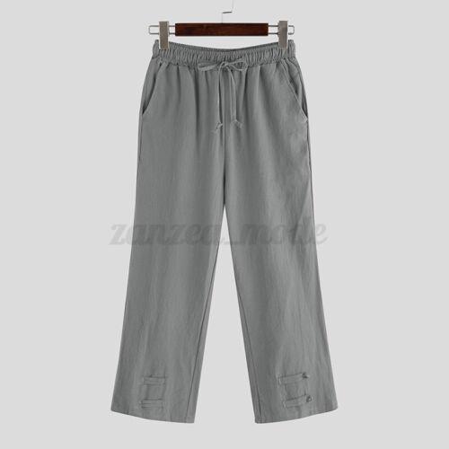 INCERUN Men/'s 100/%Cotton Casual Loose Jogger Harem Trousers Wide Leg Long Pants