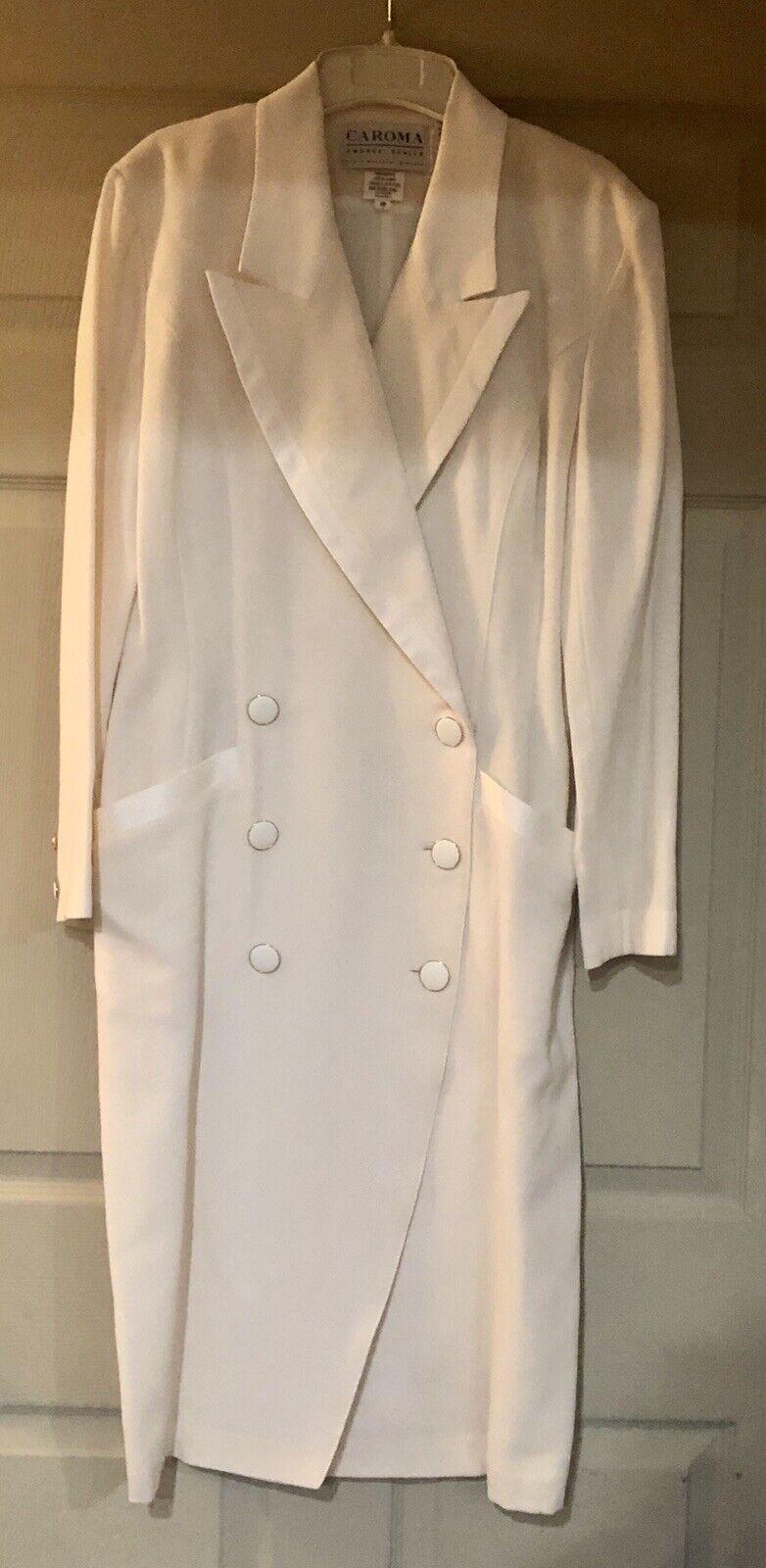 Womens Wool Dress Lined Winter White Coat Cream Off white IvorySz-10