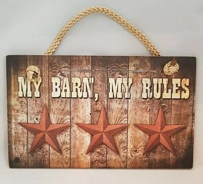 "Raised In Barn Cowboy Sign Rustic Wall Art Decor 9.5/""x5.5/"" Gift"